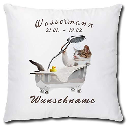 TRIOSK Kissen Katzenmotiv mit Namen personalisiert Sternzeichen Wassermann Dekokissen Katze lustig Geschenk für Katzenliebhaber Frauen Mädchen Kinder 40x40 Weiß Grau