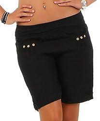 Malito Damen Bermuda aus Leinen | lässige Kurze Hose | Shorts für den Strand | Pants - Hotpants 6822 (schwarz, L)
