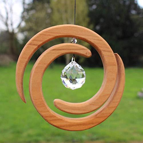 Fenster Deko zum Aufhängen | Helix aus Holz | Regenbogenkristall | Fensterschmuck | Helix Fensterdeko | Geschenkidee -