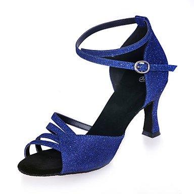 XIAMUO Nicht anpassbar - Die Frauen tanzen Schuhe funkelnden Glitter funkelnden Glitter Latein Sandalen abgefackelt HeelPractice/Professional/Innen-/ Gold
