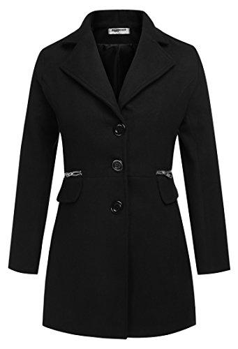 ZEARO Damen Wolljacke Wollmantel Langarmshirt Trenchcoat Mantel Long Jacket Outwear mit Taschen XXL