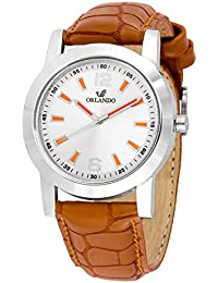 Orlando® Branded Japan Movement With White Dial & Brown Leather Belt & Orange Highlights Watches For Men - W1304T03SO