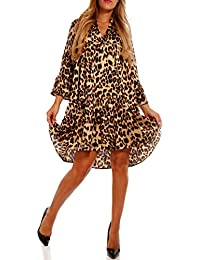 e1af21ae09a7 Damen Tunikakleid Kleid Longbluse im coolen Leo-Print H219-2