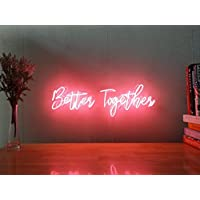Better Together Real Glass Neon Sign For Bedroom Garage Bar Man Cave Room Home Decor Personalised Handmade Artwork Visual Art Dimmable Wall Lighting Includes Dimmer