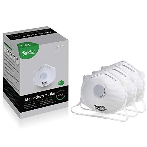 Benehal® 15x Atemschutzmaske FFP2 - Hochwertige Staubmaske - Atemmaske für exzellenten Schutz - Geprüfte Mundschutz Maske - Fest sitzend - Komfortabel und Anpassbar