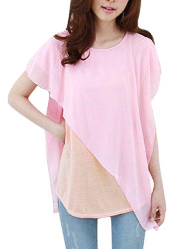 Damen Fake zwei Teile Chiffon Tunika Shirt Spleißen Rosa - Pink