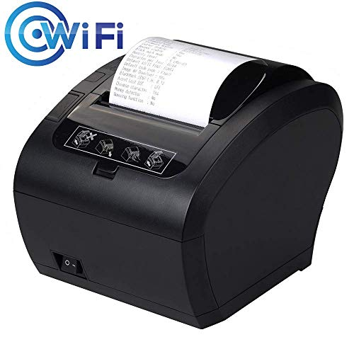 [Update 3.0] Thermodrucker WiFi Munbyn 300mm/s Bondrucker Quittungsdrucker Auto-Cut Schublade Unterstützung,Hochgeschwindigkeits WiFi USB Ethernet (LAN), kompatibel mit ESC/POS eingestellt-EU Schwarz -