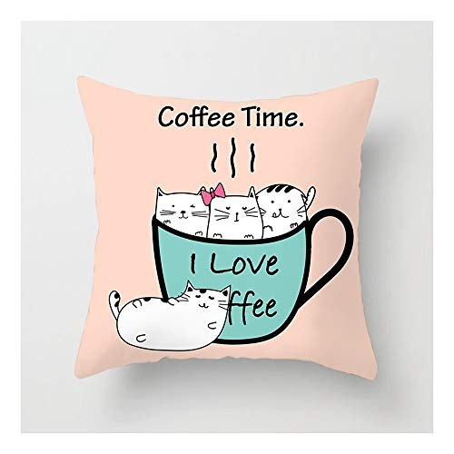 SHUCHANGLE (2pcs/Set) Wohnkultur Leinen Hug Kissenbezug Cartoon Katze In Kaffeetasse Muster Sofa...