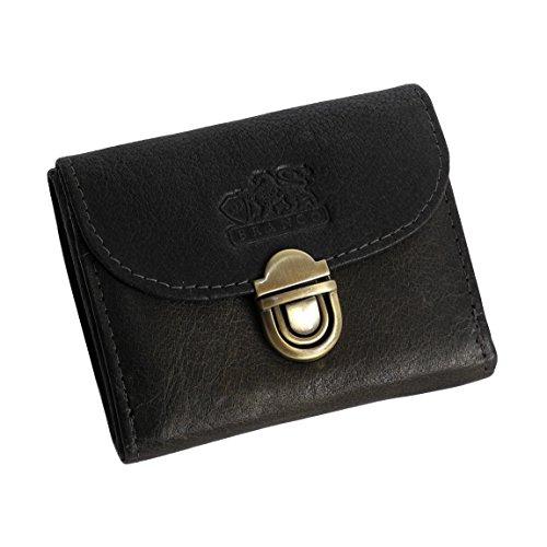 Branco Leder - kleine und sehr feine Mini Leder Damen Geldbörse, Portemonnaie, Ladys Wallet mit Kartenfächern verfügbar - präsentiert von ZMOKA® (Olive)