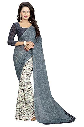 Kanchan Women's Soft Georgette Saree (Grey)