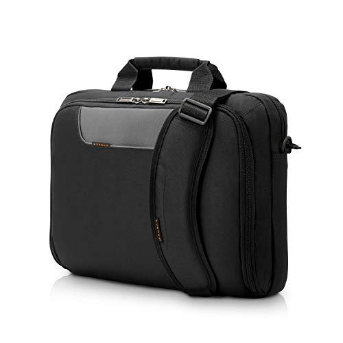 Everki Advance – Laptoptasche für Notebooks bis 16 Zoll (40,6 cm) mit Zubehör-Fach, kontrastreichem Innenfutter und Trolley-Lasche, Schwarz