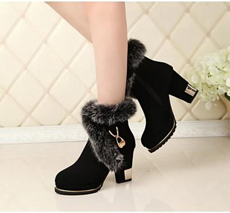 RTRY Zapatos De Mujer Otoño Invierno Tejido Confort Botas De Tacón Chunky Botines/Botines For Casual Negro Us8...