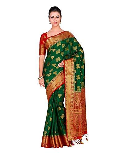 Art Silk Wedding Saree Kanjivarm Pattu Style with Contrast Blouse Color: Green Red Saree