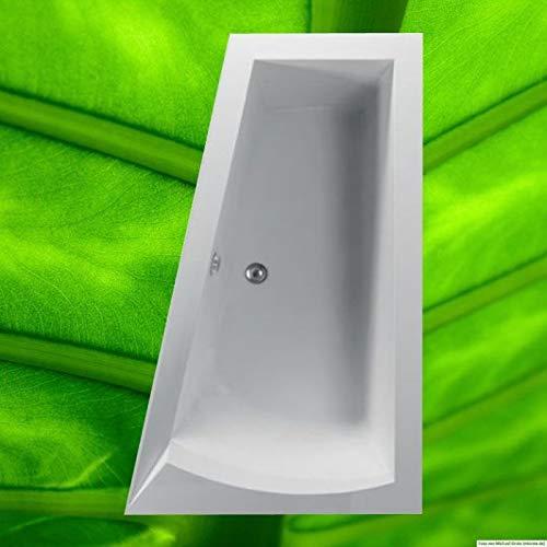 Badewanne 170x100 NERA Rechts - Acryl Trapezwanne Raumsparwanne tiefe Badewanne groß