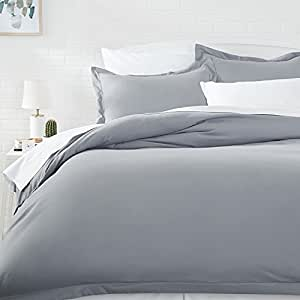AmazonBasics Microfiber Duvet Cover Set - Twin/Twin XL, Dark Grey (167x228 cm) duvet cover and a (50.8x26 cm) Pillow Covers