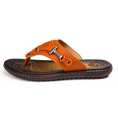 SHANGXIAN Cuir Thong Slide sandales confort feuillet Original hommes sur tongs Brown