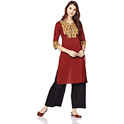 Myx Women's Cotton Straight Kurta (AJST07A_Maroon_XL)