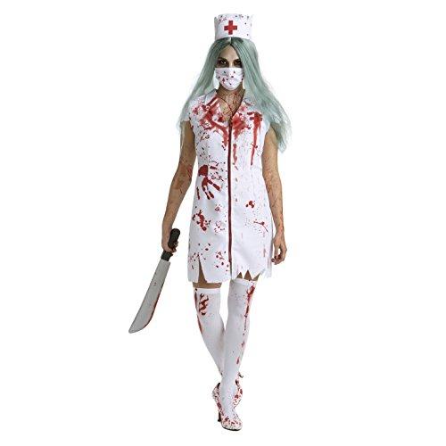 Damen Zombie Krankenschwester Kostüm Blutig Krankenhaus Halloween Kleidung - Mittel