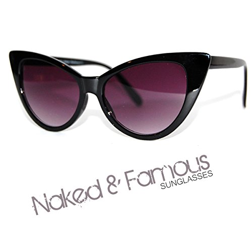 e VTG Stil der 50er/60er Damen Cat Eye Sonnenbrille Retro Rockabilly Brille Clear Lens ()
