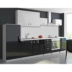 tendencio Cuisine complète 3m20 OXIN laquée Noir Blanc (Noir Blanc)
