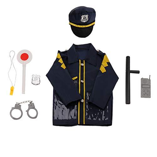 B Blesiya Kinder Polizei Mann / Feuerwehrmann Rollenspiel Kostüm Halloween Cosplay Set - Polizei