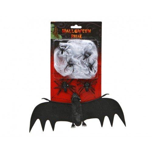 Spiderweb with a Bat 28 x15cm - Bat Bunting Kostüm