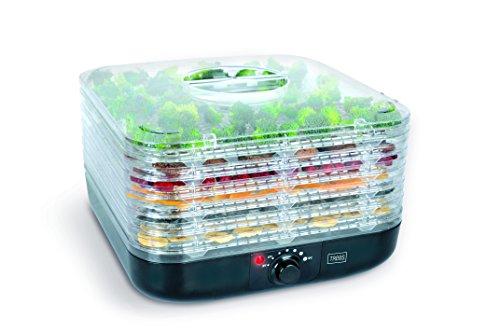 Trebs 99295 Obst-Dörrautomat mit Temperaturregler, 40 bis zu 70 °C, Obst, Gemüse, Fleisch, 6 Einsätze (pro Einsatz 1 kg)