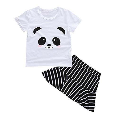 TWIFER_été_ Dessin animé Panda Imprimer T-Shirt Tops Jupes à Rayures 2PC Tenue Ensembles Enfant Fille_1 2 3 4 5 6 7 9 Ans Les magasins Ont