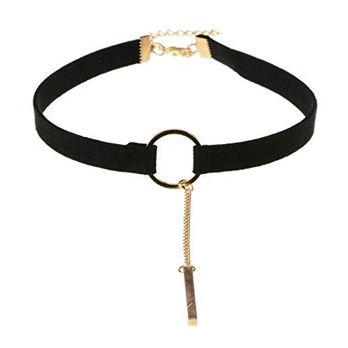 Halskette O-Ring Kreis Ring Breite Wildleder Choker Für Frauen Geschenk Party Täglich Casual Kostüm Schmuck Zubehör,Gold (Entwerfen Von Frauen Kostüm)