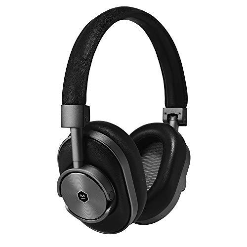 Master & Dynamic MW60 ohrumschließender Qualitäts-Kopfhörer, kabellos, mit Leder sowie mit Bluetooth-4.1 und 45-mm-Neodym-Treibern für hervorragenden Klang, blaugrau / schwarz -