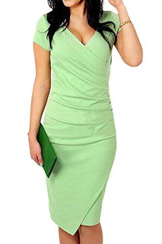 Le Donne Con Lo Scollo A V A Maniche Corte Tagliato Bodycon Abito Elegante Green