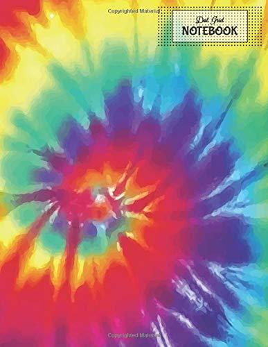 Tie-dye Dots (Dot Grid Notebook: Tie Dye Hippie Rainbow 8.5x11