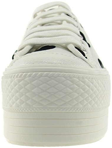 Maxstar C50 6 trous plate-forme basse table Trendy Chaussures-baskets Blanc - Dot-White