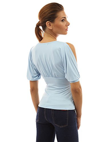 PattyBoutik Chemise femmes Col V avec manches courtes épaule nue bleu clair