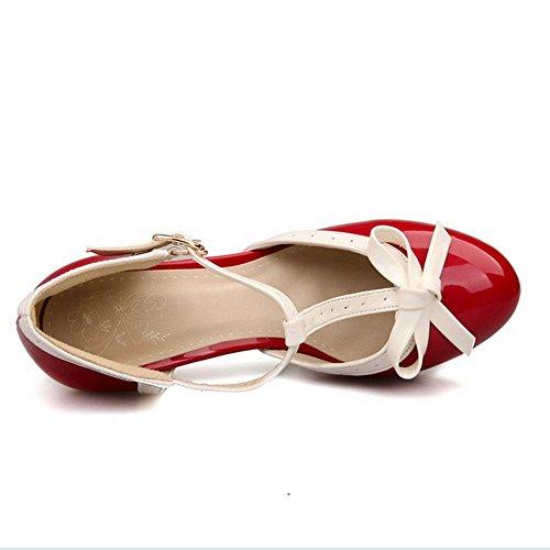COOLCEPT Damen D Orsay Sandalen Klassische T-Spange Hohe Extra Sizes 11 Colors Rot