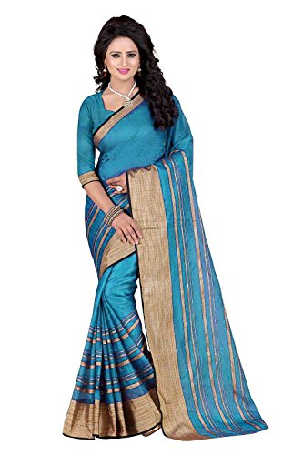PerfectBlue Cotton Saree with Blouse Piece (I-00023_Blue 2_Free Size)