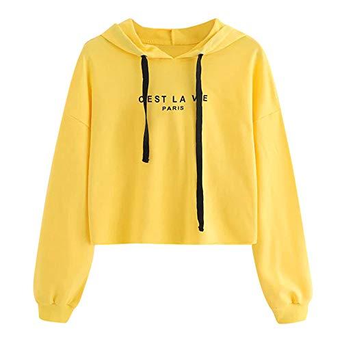 Damen Teenager Mädchen Pullover Hoodie Frauen Pulli Crop Tops MYMYG Langarm Kurz Sweatshirt Langarmshirt Oberteile Hoodie Crop ()