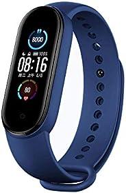 سوار ساعة بديل متوافق مع ساعة شاومي مي سمارت باند 5 الذكية، تصميم رياضي من السيليكون قابل للتعديل، لون ازرق دا