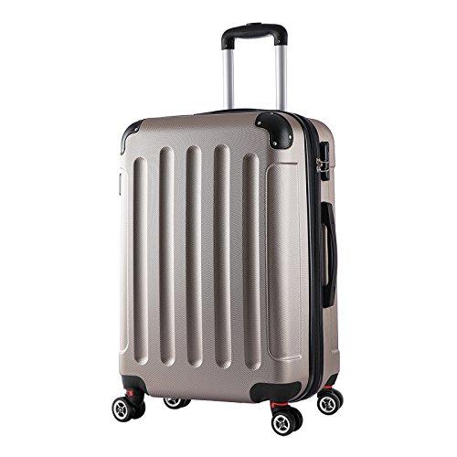 WOLTU RK4202ch, Reise Koffer Trolley Hartschale Volumen erweiterbar, Reisekoffer Hartschalenkoffer 4 Rollen, M/L/XL/Set, leicht und günstig, Champagne (L, 67 cm & 70 Liter)