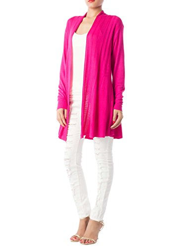 ib-ip-womens-stripes-boyfriend-lightweight-solid-colours-front-drape-cardigan-size-m-l-hot-pink
