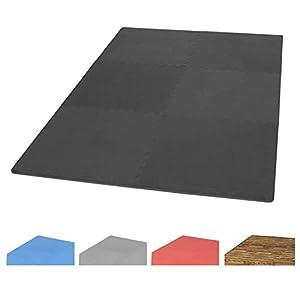 GORILLA SPORTS® Schutzmatten-Set mit Endstücken – Puzzle-/Unterleg-Matten 62 x 62 x 1,2 cm