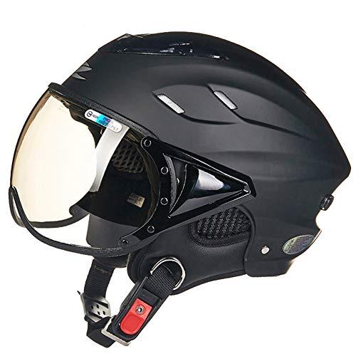 FLYFEI Mezzo Casco per MotoCasco da Casco per Casco da BiciclettaCasco da Gara MotocrossSummer Jet Pilot Helmetper Skateboard Ciclomotore FuoristradaKids Men Women Size: 55-60Cm,Black
