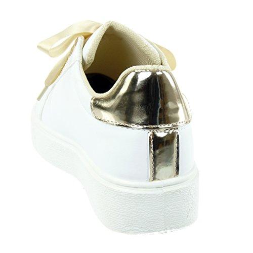 Sneaker Angkorly Scarpe raso Tacco tacco donna piatto verniciato in Tennis CM Oro Moda 4 Lacci ETUqA