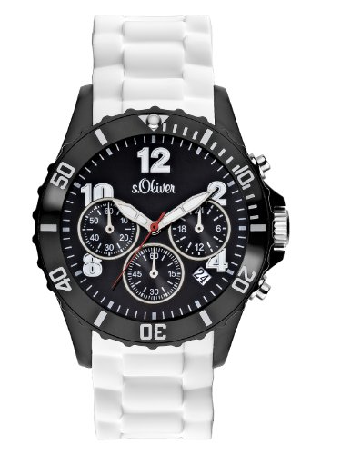 s.Oliver Unisex-Armbanduhr Big Size Chronograph Silikon weiß SO-2324-PC