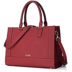 Kadell Womens Large Capacity Matte Leder Tote Handtaschen Geldbörse Schulter Satchel Taschen Weinrot