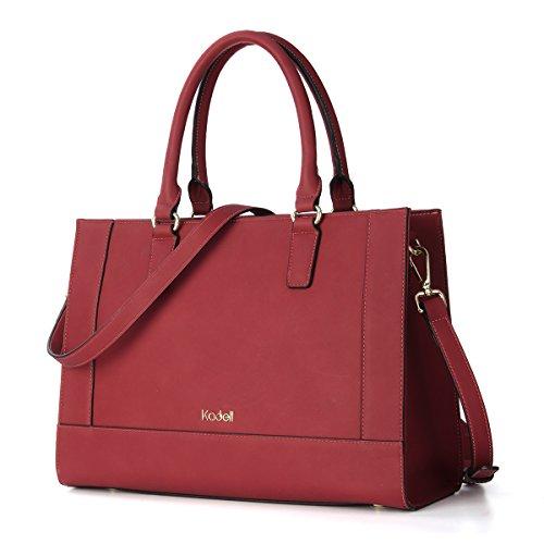 Kadell Womens Large Capacity Matte Leder Tote Handtaschen Geldbörse Schulter Satchel Taschen Rot (Handtasche Legen Geldbörse Organizer)
