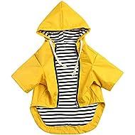 Stylish Premium Dog Raincoats - Dog Wear Yellow Zip Up Dog Raincoat with Reflective Buttons, Pockets, Rain/Water Resistant, Adjustable Drawstring -Yellow -S