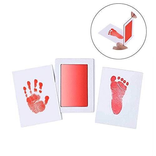 """Große Safe Inkless""""Clean-Touch"""" Handabdruck und Fußabdruck Stempelkissen mit 2 Impressum Karten, 100% ungiftig & Chaos Free Safe für Neugeborene und Kleinkinder (Rot)"""