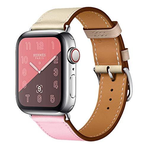 MroTech Armband 40mm 38mm Watch Band Lederarmband echtes Leder Uhrenarmband Ersatzen Armbänder für Smartwatch Serie 1/2 / 3/4 Nike+ Hermes&Edition Single Tour Loop 38 / 40mm Rosa Craie