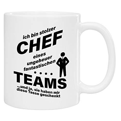 Tasse - stolzer Chef (Schwarze Schrift): Kaffeetasse Bedruckt ALS lustige Geschenkidee für Chefs -...